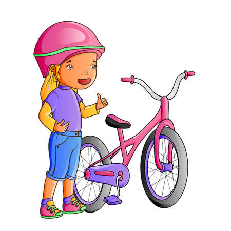 Cartoon cute little girl with bicycle