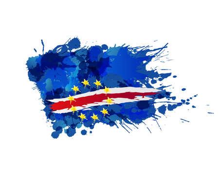 Flag of Cabo Verde made of colorful splashes Vector Illustration