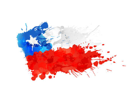 Flag of Chile made of colorful splashes