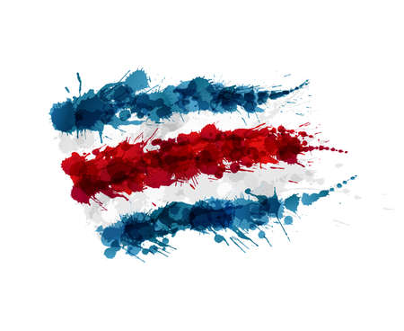 central america: Flag of Costa Rica made of colorful splashes Illustration