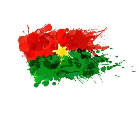 burkina faso: Flag of Burkina Faso made of colorful splashes