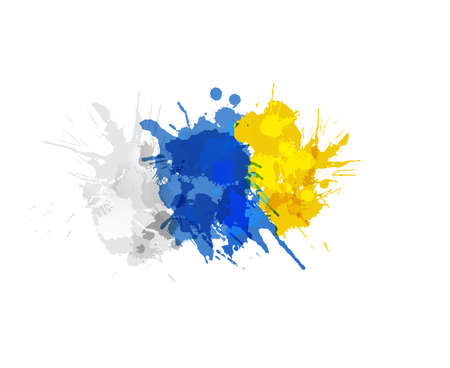 Flag of Canary Islands made of colorful splashes