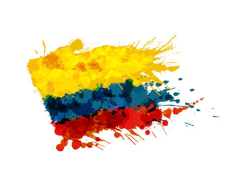 Flag of Colombia made of colorful splashes