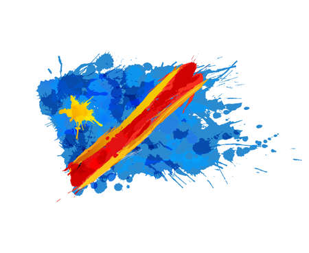 republic of the congo: Flag of Congo made of colorful splashes Illustration