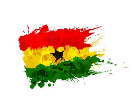ghana: Flag of Ghana made of colorful splashes