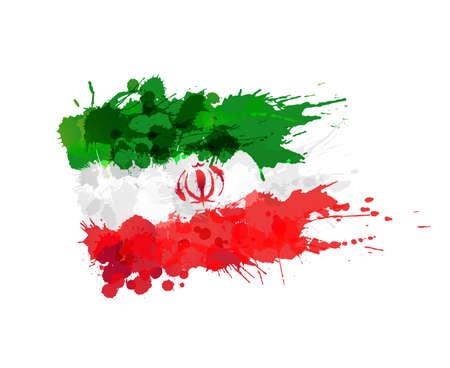 이란의 국기 다채로운 밝아진 만든