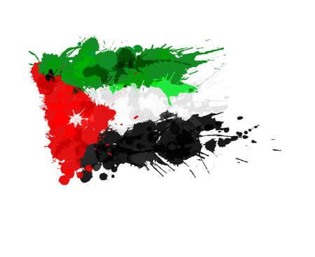 jordanian: Vlag van Jordanië gemaakt van kleurrijke spatten