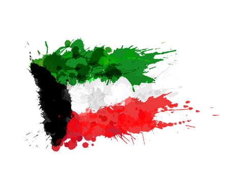 クウェートの旗から成っているカラフルな水しぶき  イラスト・ベクター素材