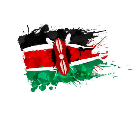 kenya: Flag of Kenya made of colorful splashes Illustration