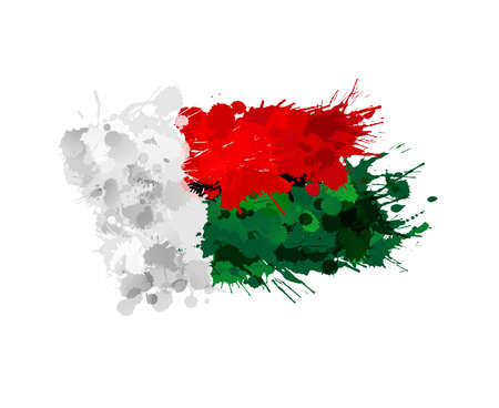 Flag of  Madagascar made of colorful splashes Vector