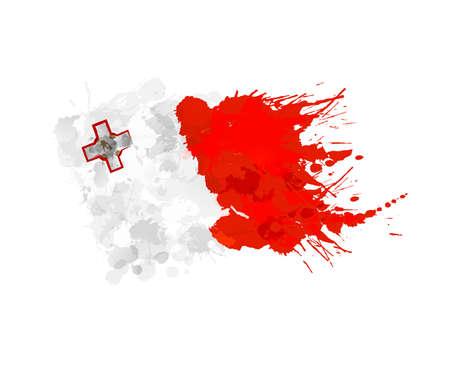 malta flag: Flag of Malta made of colorful splashes