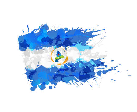 central america: Flag of  Nicaragua made of colorful splashes Illustration