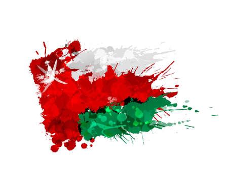 오만의 국기 화려한 밝아진 만든 일러스트