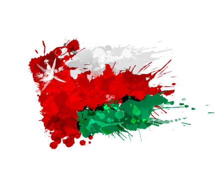 Flag of  Oman made of colorful splashes