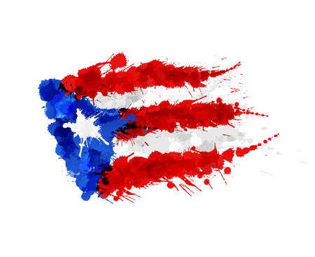 Flag of  Puerto Rico made of colorful splashes Çizim
