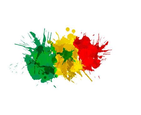 Flag of  Senegal made of colorful splashes Иллюстрация