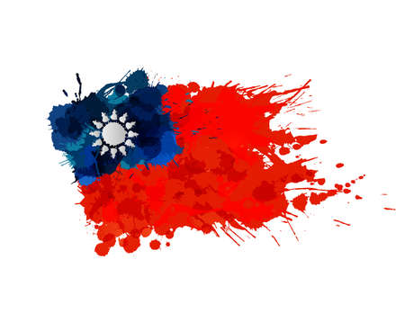 Flag of  Taiwan (Republic of China) made of colorful splashes Illusztráció