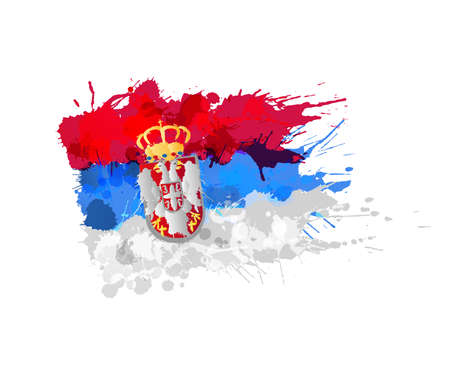 serbia: Flag of  Serbia made of colorful splashes