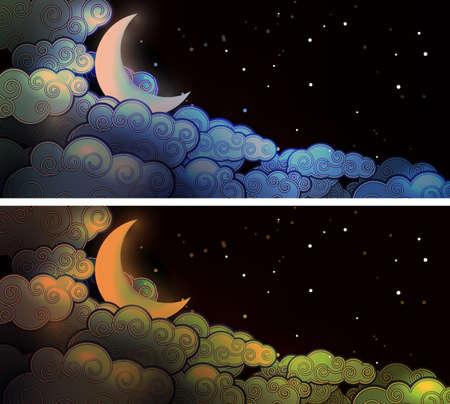 달과 구름 일러스트