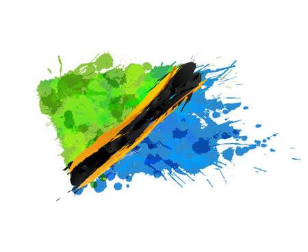 탄자니아의 국기 다채로운 밝아진 만든 일러스트