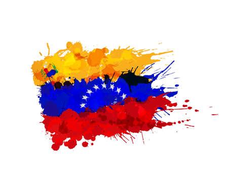 Flag of  Venezuela made of colorful splashes