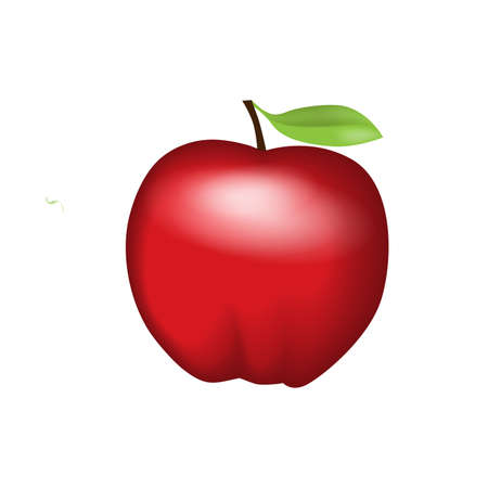 apple isolated: Red apple with leaf