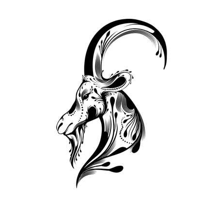 goat head: Tribal goat head tattoo