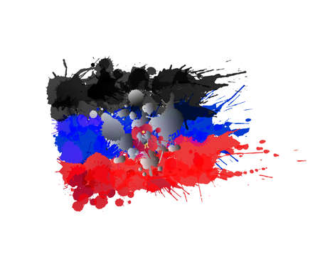 donbass: Donetsk Peoples Republic flag made of colorful splashes