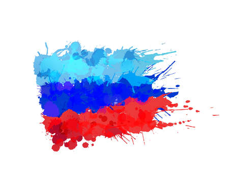 donbass: Lugansk Peoples Republic flag made of colorful splashes