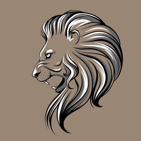 line drawings: Lion head illustration Illustration