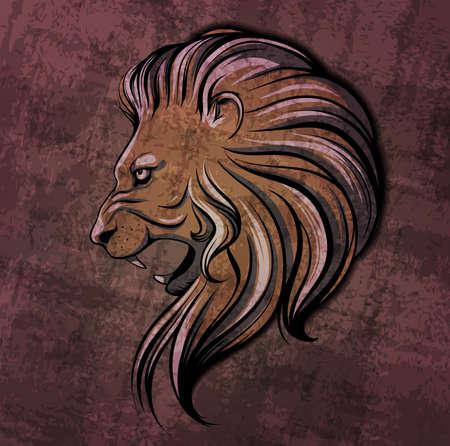 Lion head grunge illustration Vector
