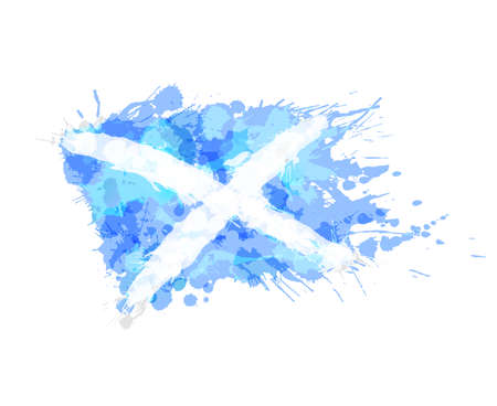 Flag of Scotland made of colorful splashes
