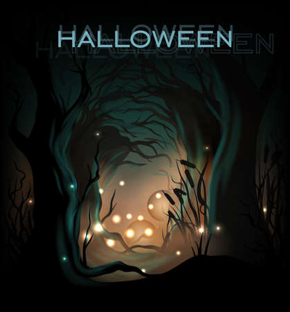 misty forest: Halloween de fondo de la plantilla de dise�o