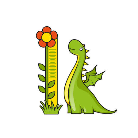 Cute little dragon with height measuring scale Vector