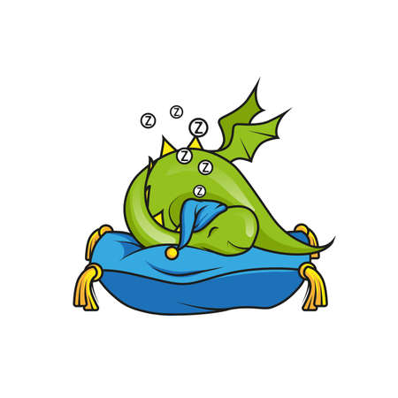 Cute little dragon sleeping on the pillow Vector