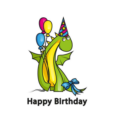 Happy birthday. Cute cartoon dragon wearing party hat and holding balloons Vector