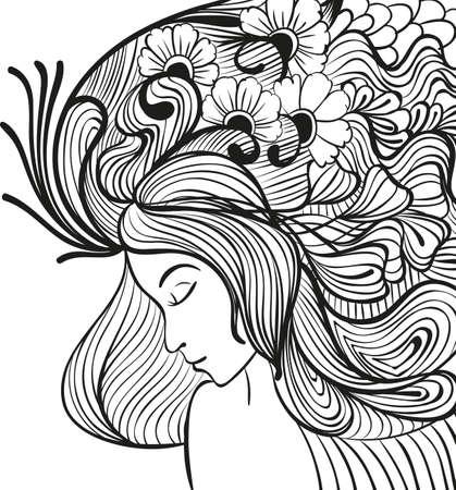 Doodle jonge vrouw met bloemen in het haar portret Stock Illustratie