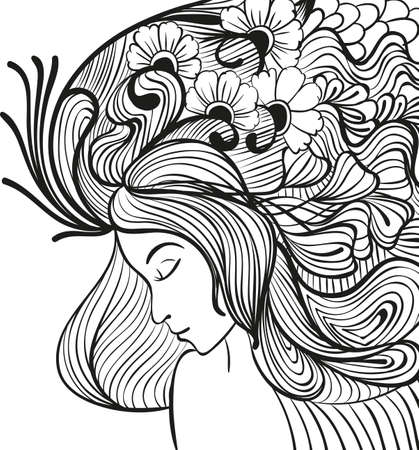 Doodle young woman with flowers in hair portrait