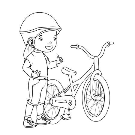 Coloring book: girl with bicycle Vector