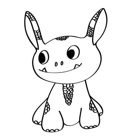 Coloring book: cute little monster Vector