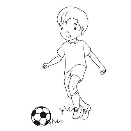 Coloring book: boy playing soccer Vector
