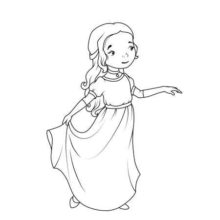 Coloring Book Cartoon Girl Wearing Classic Long Dress Stock Vector