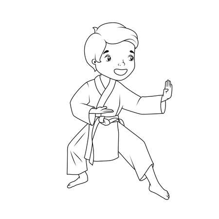 Coloring book: Little boy wearing kimono practicing karate Vector
