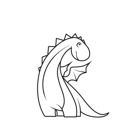 Coloring book: Cute little dragon Vector