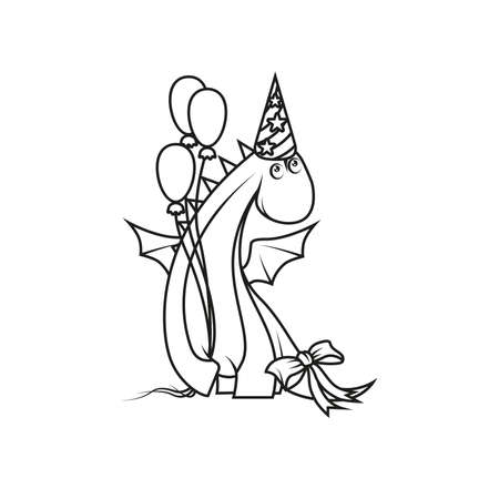 Coloring book: Cute cartoon dragon wearing party hat and holding balloons Vector