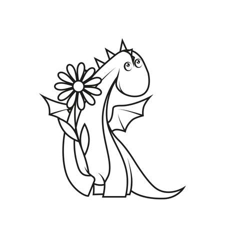 Coloring book: Cute little dragon holding flower Vector
