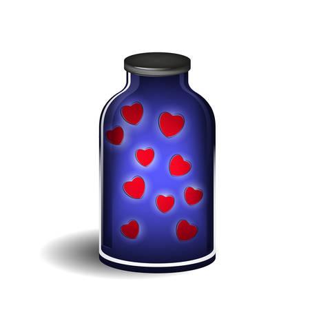 pharmaceutics: Bottle with shiny hearts