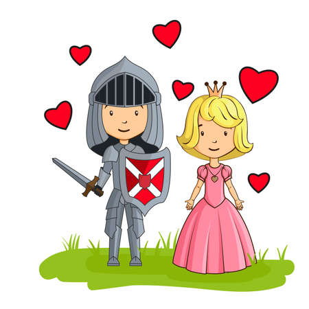 Cartoon characters knight and princess in love Vector