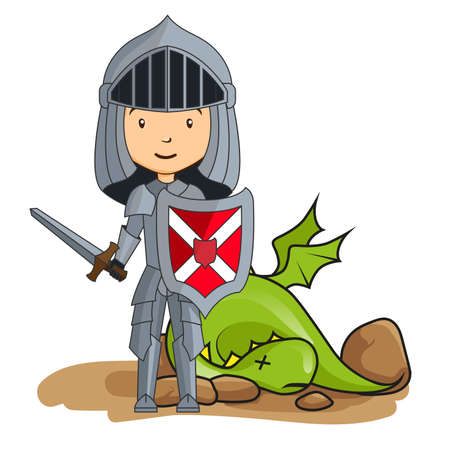 victorious: Cartoon knight victorious over the dragon Illustration