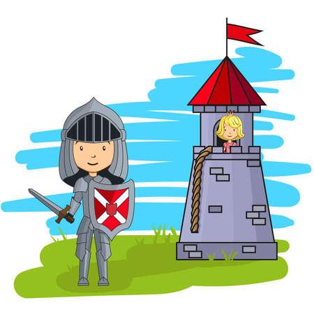 Cartoon caballero va a rescatar a la princesa de la torre